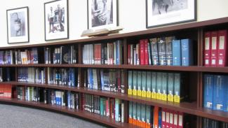 Image of reference materials in Gerstein reading room