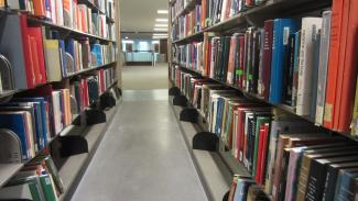 Image of bookshelves in Gerstein Library