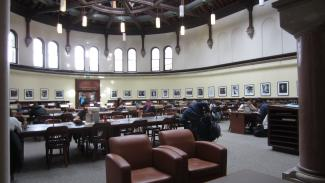 Image of Gerstein Reading Room tables and soft seating