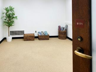 room with plant, yoga mats, and floor cushions