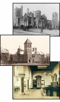 collage of historical interior and exterior shots of library