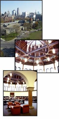 collage of contemporary interior and exterior shots of library